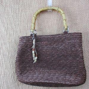 White Stag Brown Wheat Straw Handbag Bamboo Handle